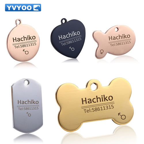 YVYOO Free engraving Pet Dog cat collar accessories Decoration Pet ID Dog Tags Collars stainless steel  cat tag customized tag
