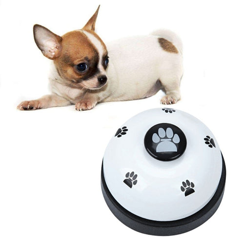 Cute Pets Call Bell Dog Ball-Shape Paws Printed Meal Feeding Educational Toy Puppy Interactive Training Tool Supply