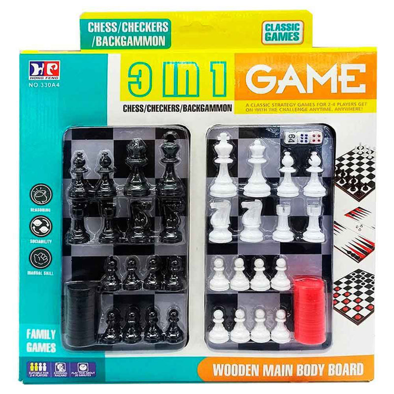 Joc Clasic de Strategie 3 in 1 (Sah , Dame, Table) COD: 330A4
