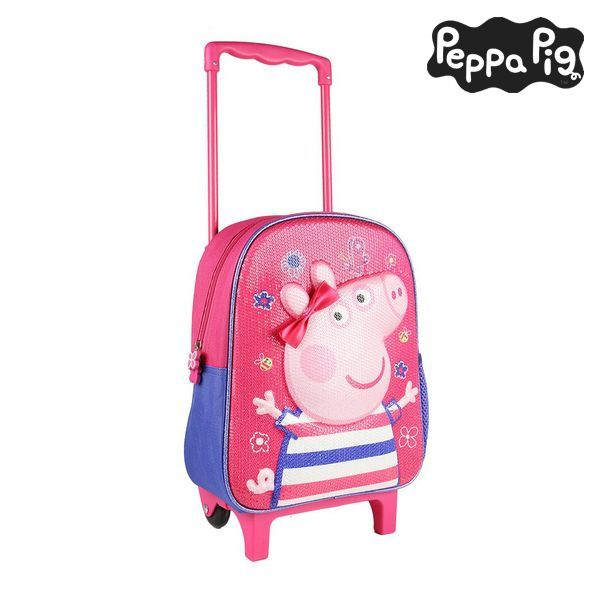 3D School Bag with Wheels Peppa Pig Pink