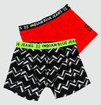 Indian Blue Boxershort 2er Set, Zig Zag, Black&red