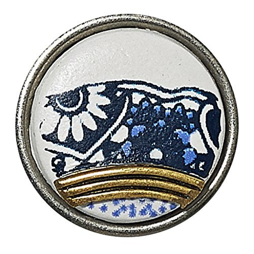NOOSA Petite Chunk Delft Blue FAIENCE white/blue/gold-ceramic/brass CPRF-9018-02