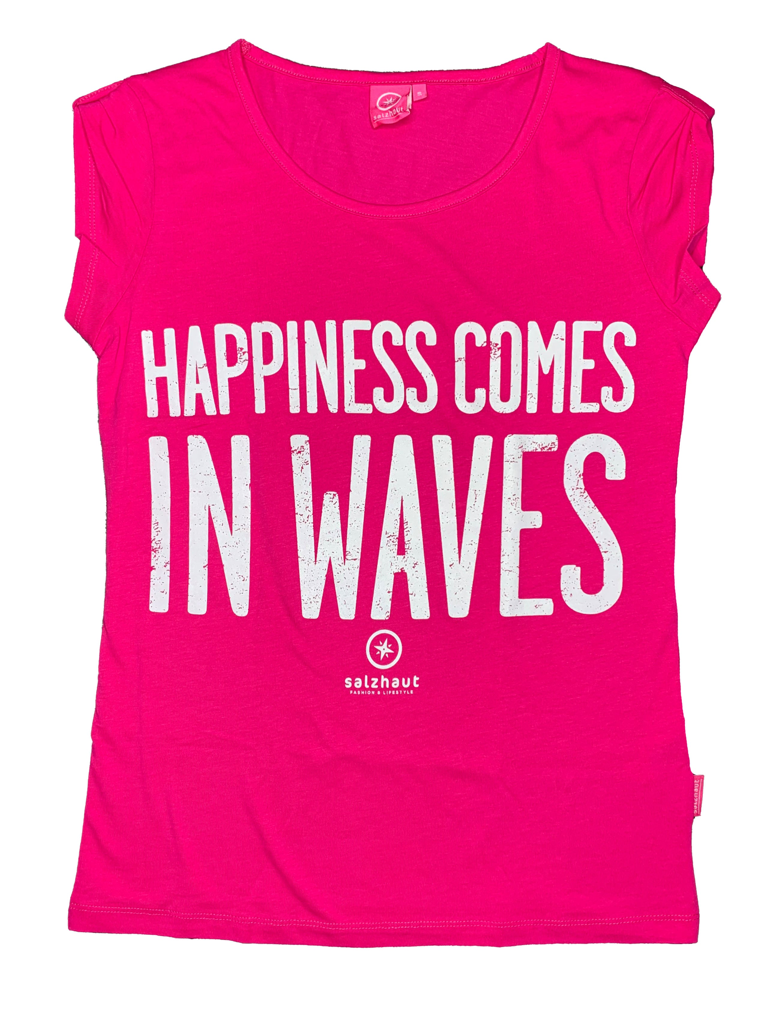 "Salzhaut Damen T-Shirt ""HAPPINESS COMES IN WAVES"""