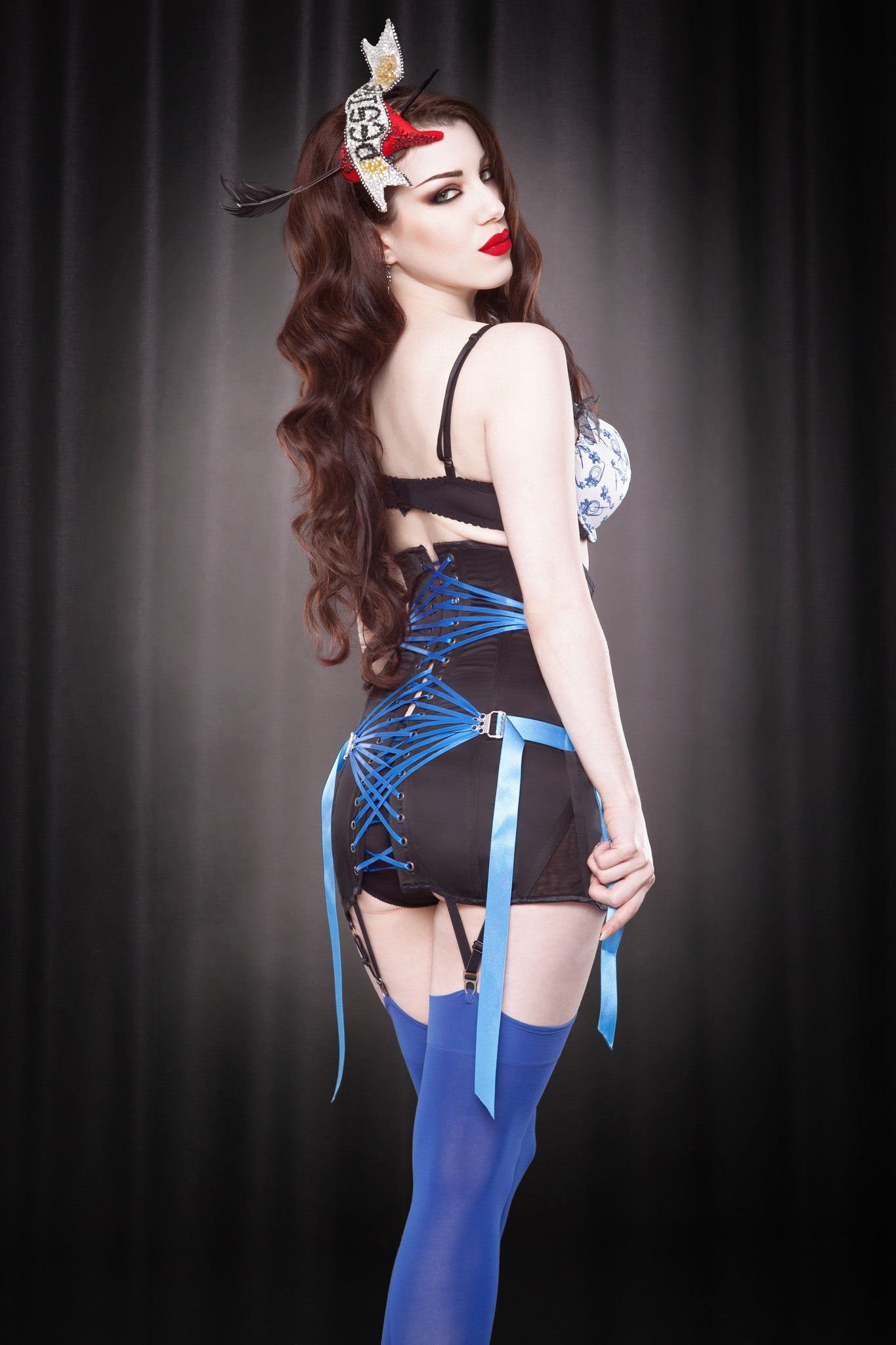 j leigh lingerie Made To Order Blue Fan Lace Girdle ...