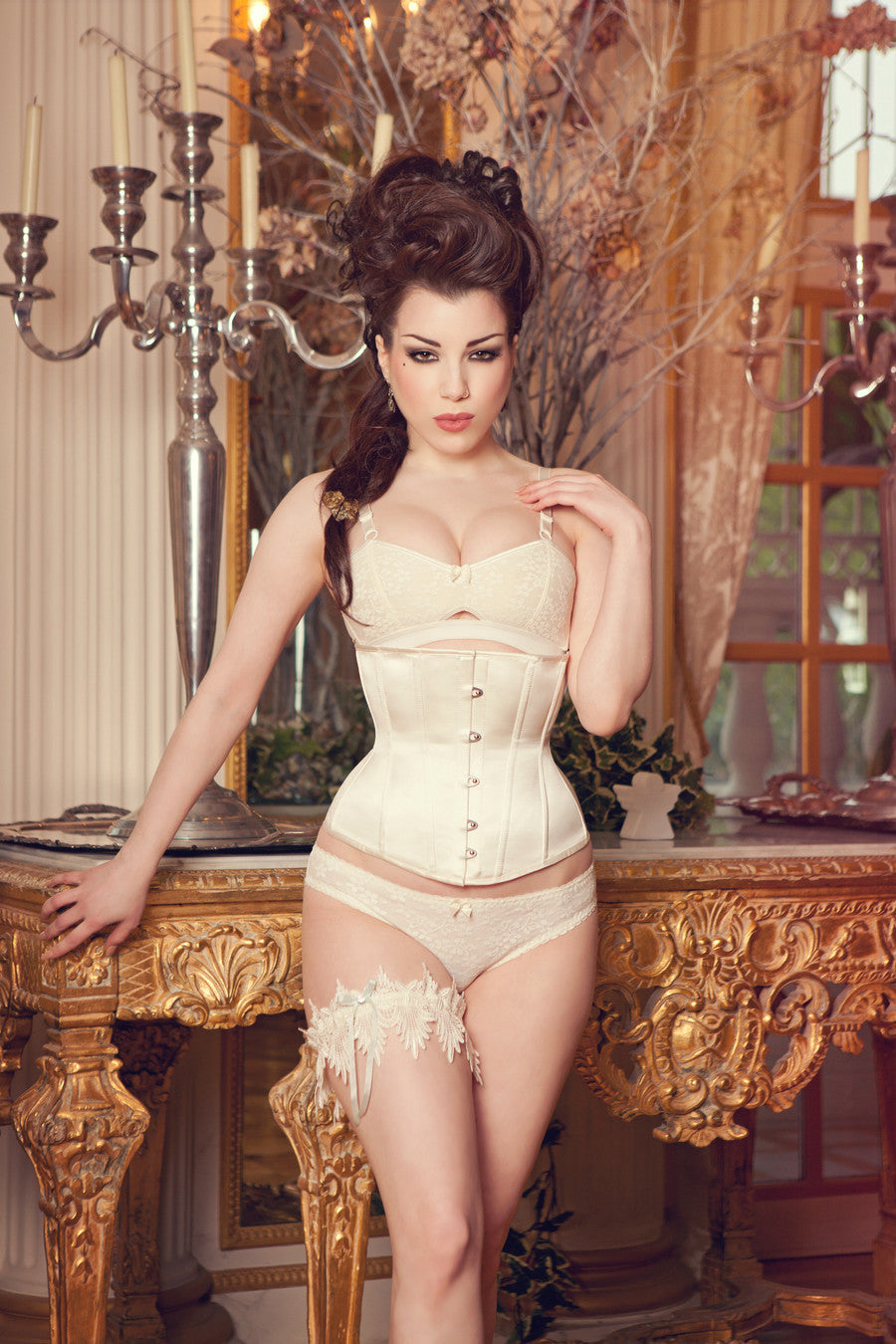 2468104730 Made to Order Ivory Silk Tempest Corset - Hepburn And Leigh