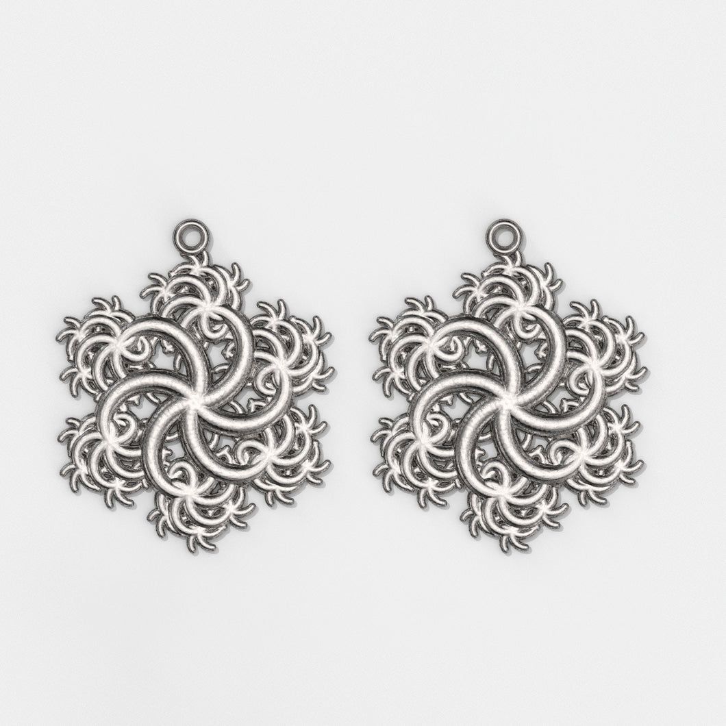 Six-Pointed Earrings Silver