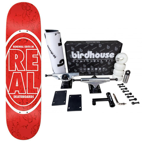 Real Complete Skateboard #2 Deck Stacked Oval Floral Red 7.75 Birdhouse Component Kit