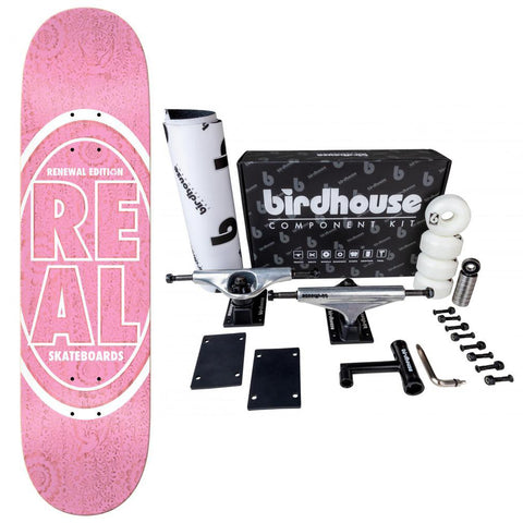 Real Complete Skateboard #3 Deck Stacked Oval Floral Pink 8.06 Birdhouse Component Kit