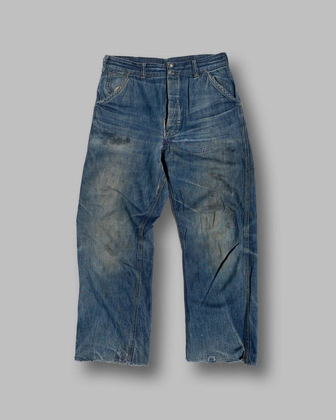 30s/40s Dark Wash Cinch-Back/Buckle-Back Denim Jeans - shop cat and cobra