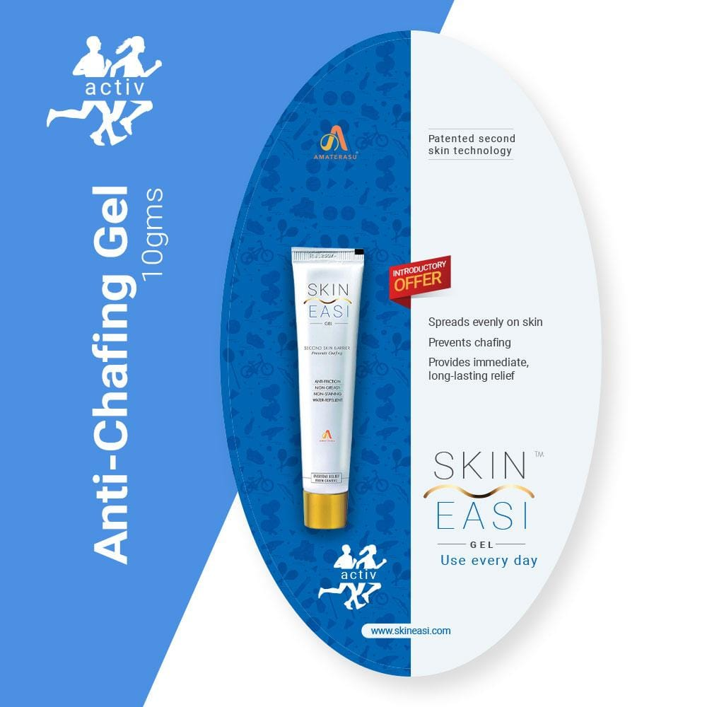 SkinEasi activ Anti-Chafing Gel 10g - Prevents Thigh Burn, Blisters, Nipple Bleeds, Groin Rash, Jock Itch, Rashes due to Face Mask & PPE Kits, Underarm and Under Bra Rash