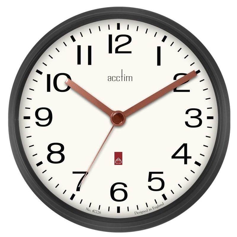 "Acctim ""Alvis"" 20cm Wall Clock in Gun Metal 29233 - Robert Openshaw Fine Jewellery"