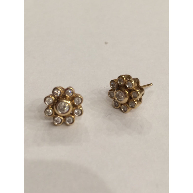 9CT YELLOW GOLD 0.24cts DIAMOND CLUSTER EARRINGS LEEMING