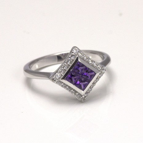Silver Amethyst & White CZ Ring