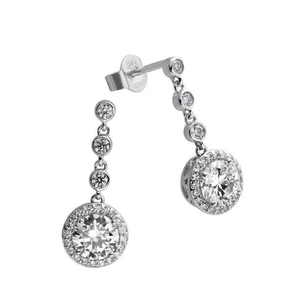 Diamonfire Round Pave Drop Earrings E5588 - Robert Openshaw Fine Jewellery