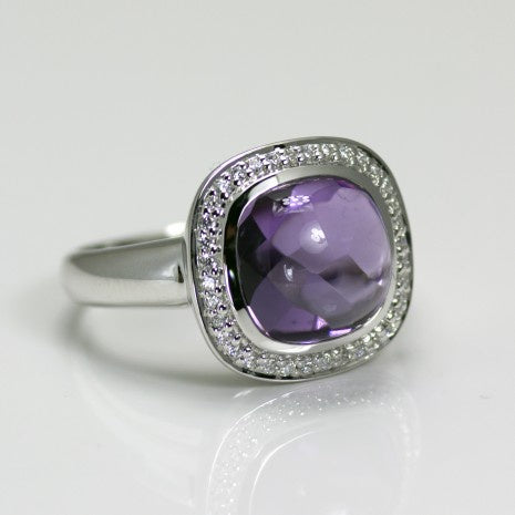 Silver Amethyst & White CZ Ring PYR002AM