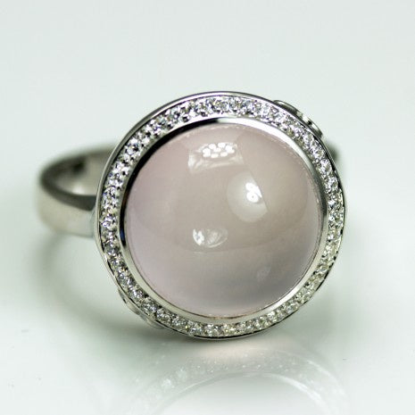 Silver Rose Quartz & White CZ Ring