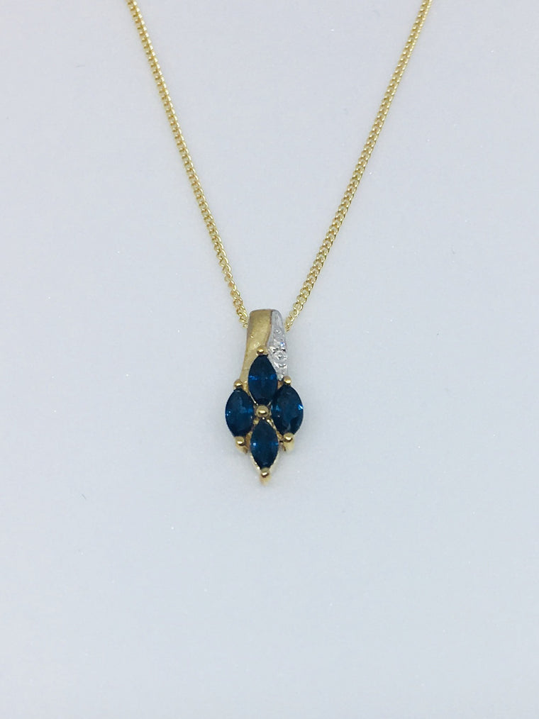 9ct Yellow Gold 0.05ct Diamond & Sapphire Necklace PD194S/D