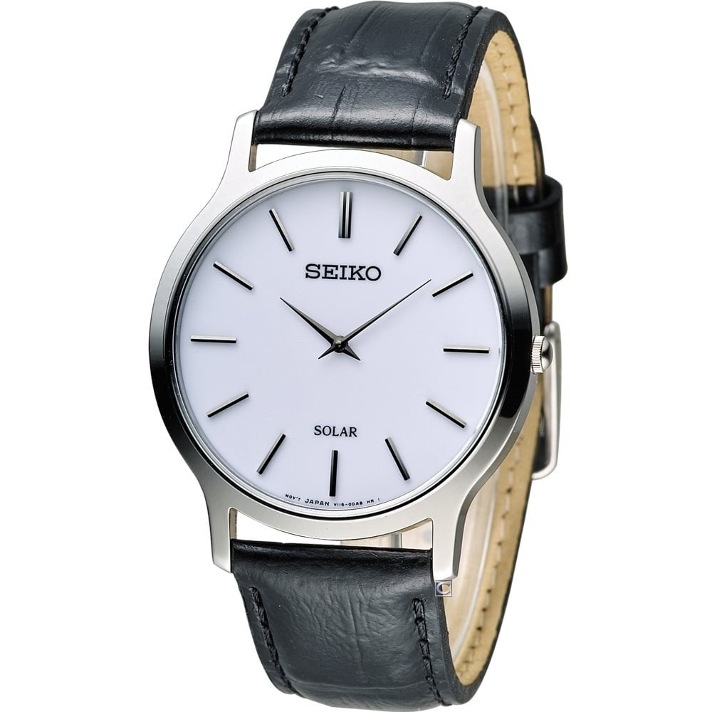 Seiko Mens Solar Leather Strap Watch SUP873P1