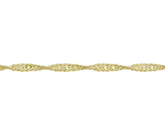 "9ct Yellow Gold 18"" Twisted Curb Chain GTC4018"