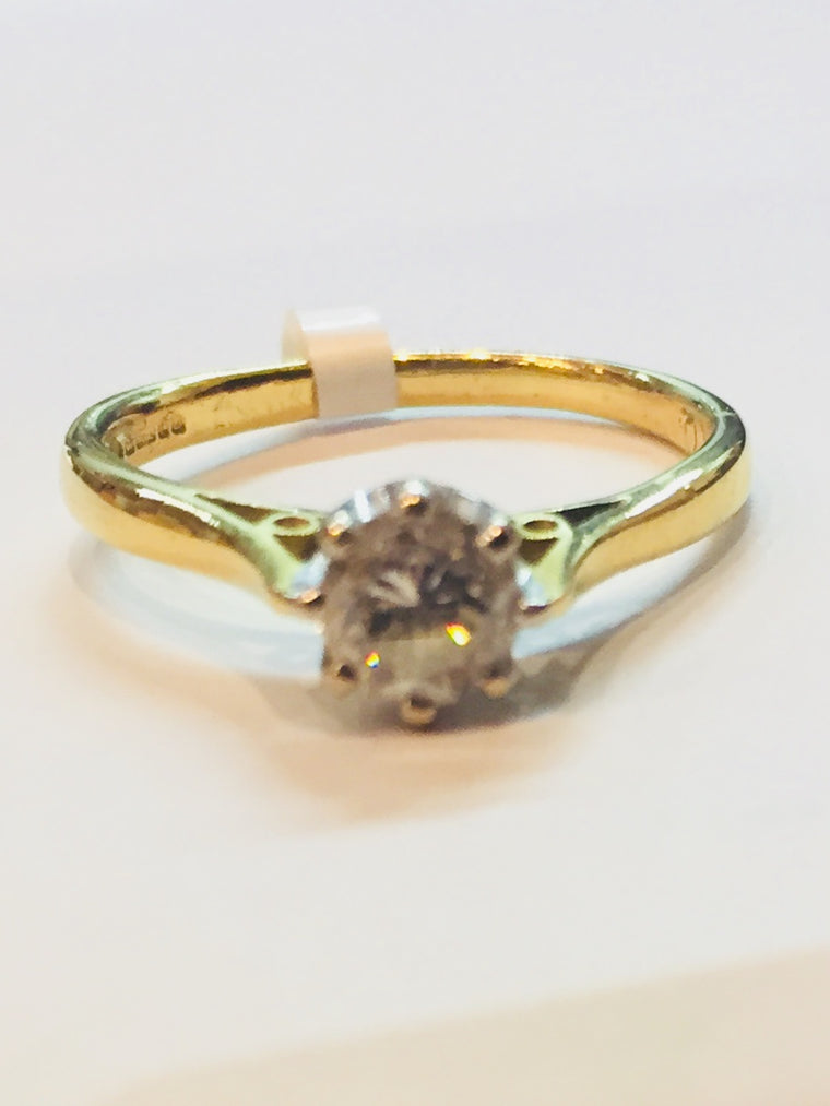 18ct Yellow Gold Single Stone 0.45cts Diamond Ring - BROOKE2
