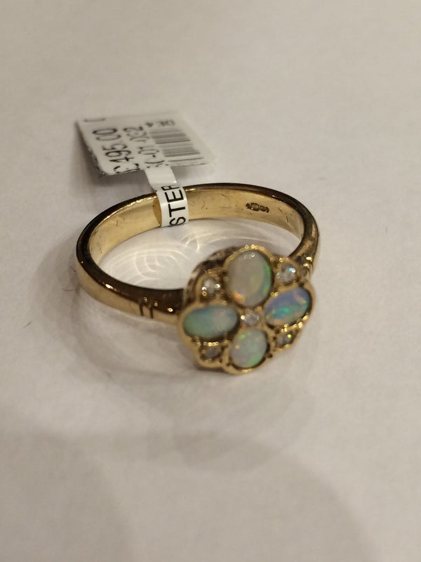 9CT YELLOW GOLD OPAL & DIAMOND CLUSTER RING HIRST - Robert Openshaw Fine Jewellery