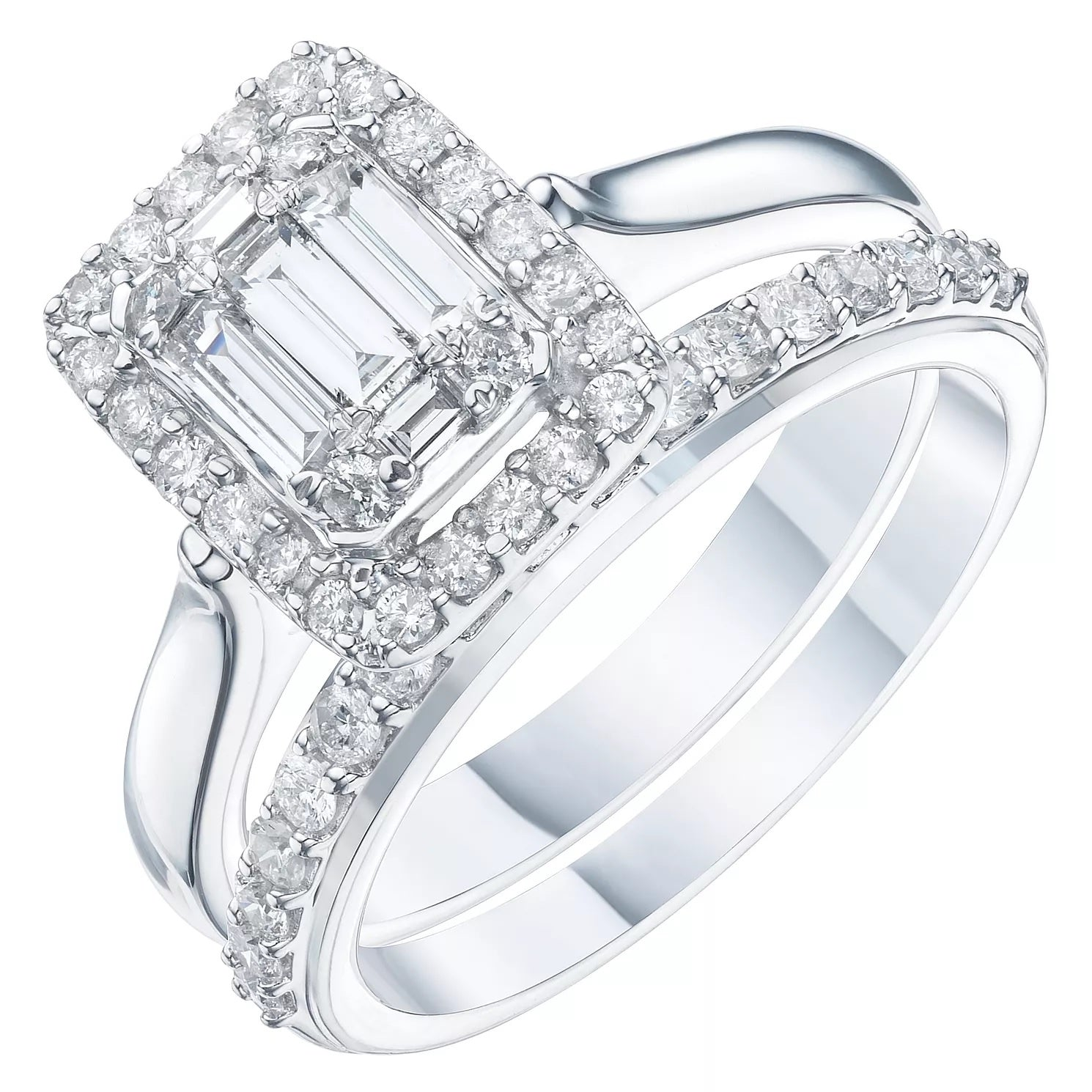 9ct White Gold 3/4ct Diamond Perfect Fit Bridal Set