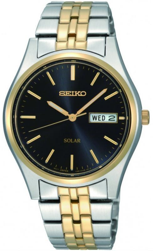 SEIKO MENS TWO TONE SOLAR DAY DATE BRACELET WATCH SNE034P1 - Robert Openshaw Fine Jewellery