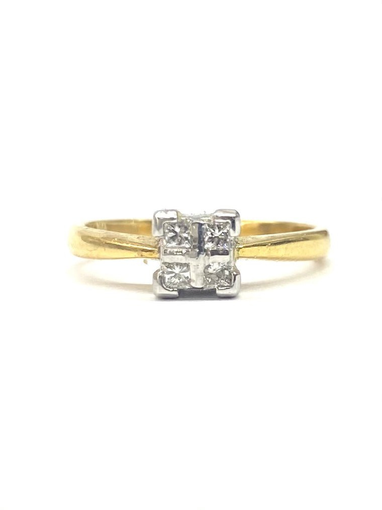 18ct Yellow Gold 0.20cts Diamond Cluster Ring RE016