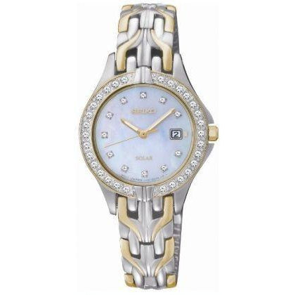 SEIKO LADIESS TWOTONE SOLAR 30M DATE WATCH SUT084P9