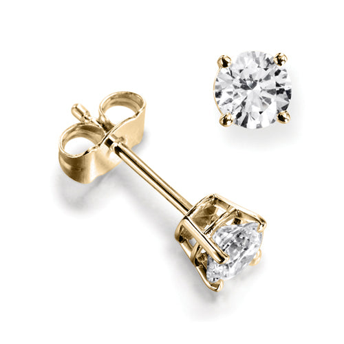 18ct Diamond Solitaire  Four Claw Stud Earrings
