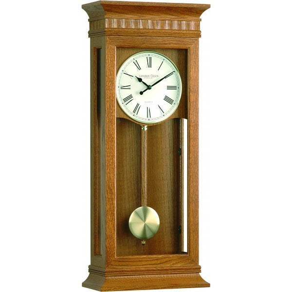 LONDON CLOCK CO LIGHT OAK PENDULUM CLOCK