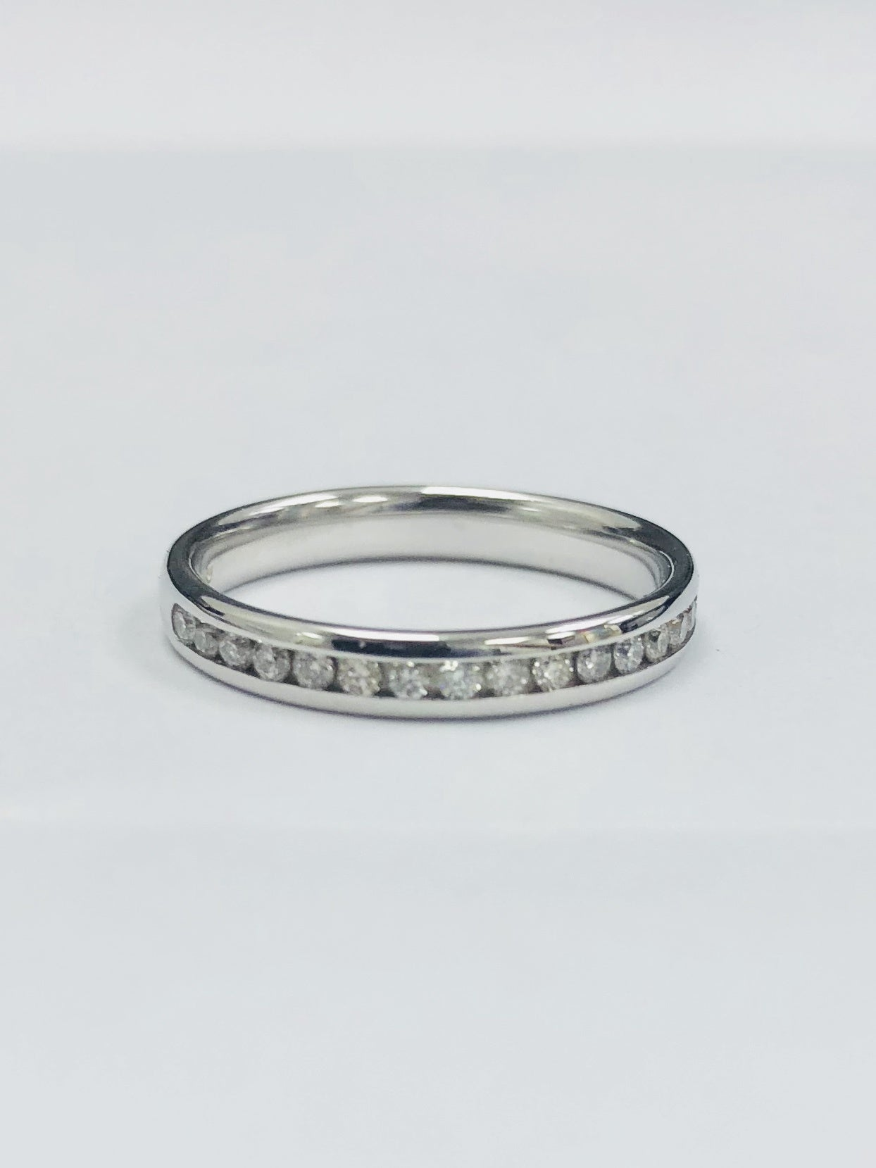 Platinum & Diamond Half wedding/Eternity Ring - RHODES2 - Robert Openshaw Fine Jewellery