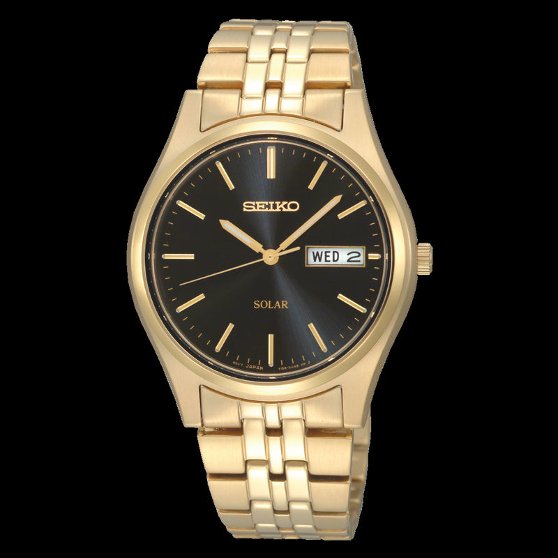 Seiko Mens Gold Plated Solar Watch SNE044P9