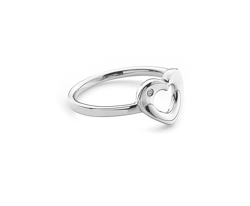 Hot Diamonds Ribbon Emerge Open Heart Ring DR161