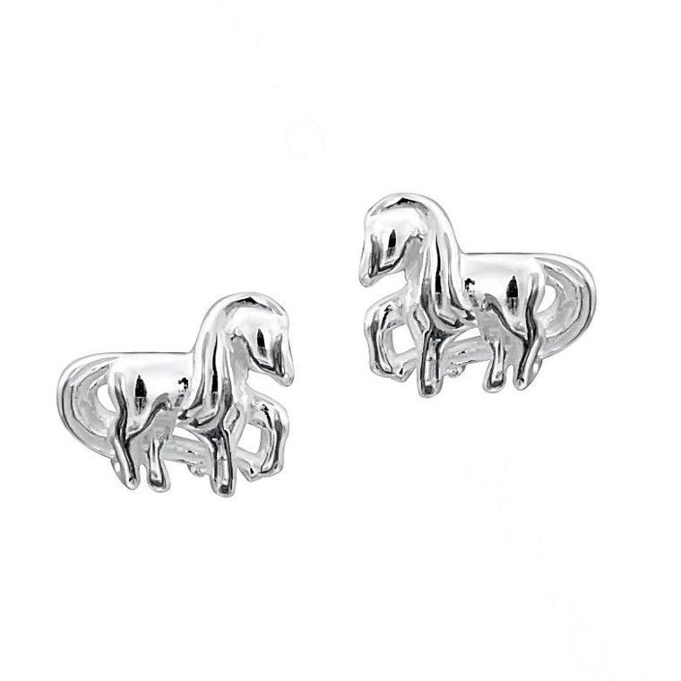 JO FOR GIRLS SILVER 10x8 HORSE STUD EARRINGS CE78