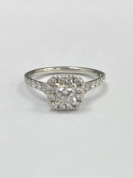 Platinum 0.87cts Diamond Cluster Ring