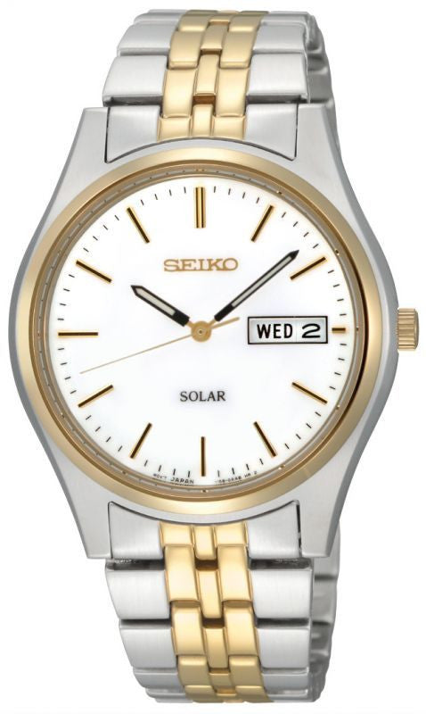 SEIKO MENS TWO TONE SOLAR DAY DATE BRACELET WATCH SNE032P1