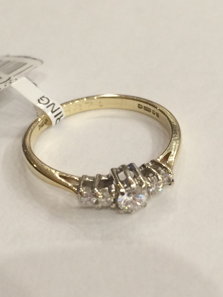 9CT YG 5 STONE 0.22cts DIAMOND RING ASQUITH