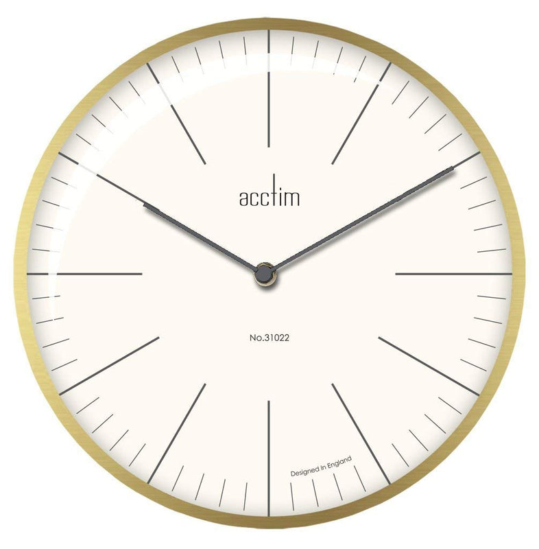 "Acctim ""Koppen"" 30cm Domed Wall Clock in Brushed Brass 29448 - Robert Openshaw Fine Jewellery"