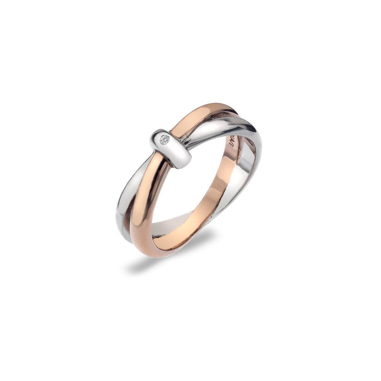 Hot Diamonds Eternity Silver & 18ct Rose Gold Vermeil Interlocking Ring DR112