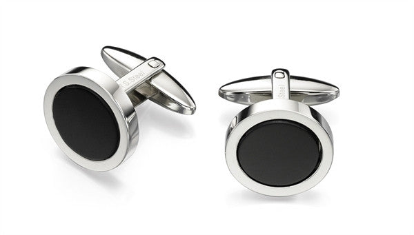 FRED BENNETT BLACK ONYX CUFFLINKS V477