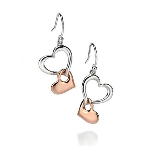 FIORELLI TWO TONE SILVER DROP EARRINGS E4861 - Robert Openshaw Fine Jewellery