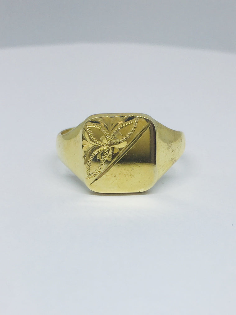 9ct Yellow Gold Half Engraved Square Signet Ring R276