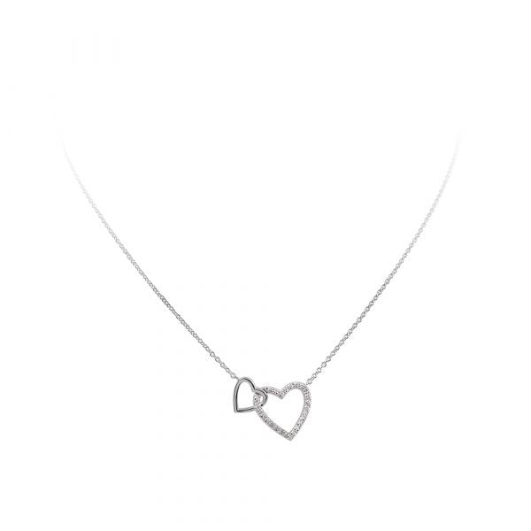 Diamonfire Silver CZ Double Heart Necklace 63-0983-1-082 - Robert Openshaw Fine Jewellery