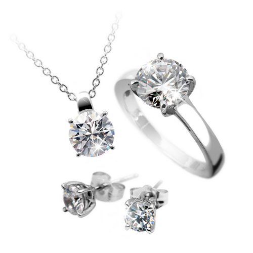 Diamonfire Silver CZ EXCLUSIVE Ring, Pendant & Earring Set 13-0978-1-917-17