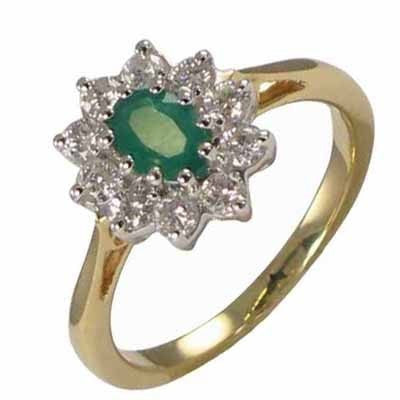 ROBERT OPENSHAW 18CT YELLOW GOLD EMERALD & DIAMOND RING