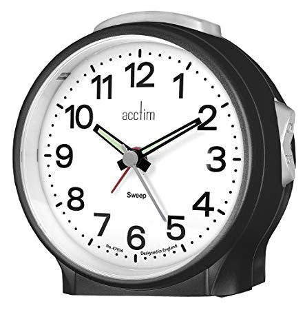 "Acctim ""Elsie"" Sweep Alarm Clock in Black 15573 - Robert Openshaw Fine Jewellery"
