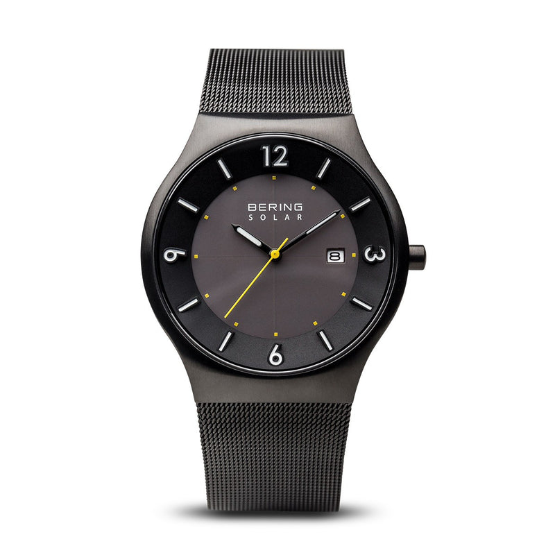 Bering Mens Classic Solar Brushed Black Watch 14440-223 - Robert Openshaw Fine Jewellery