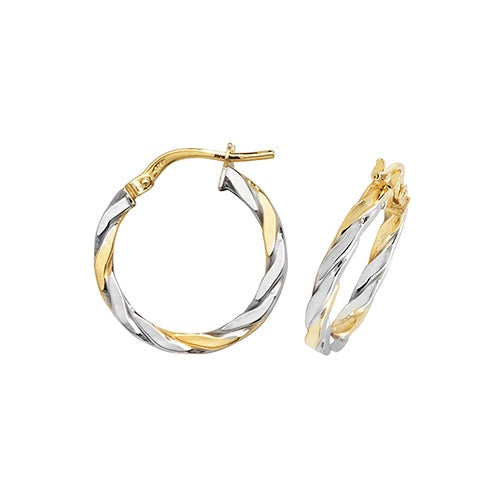 9ct Yellow & White Gold 15mm Hoop Earrings