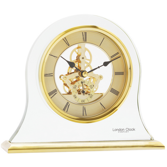 LONDON CLOCK CO GOLD FINISH GLASS MANTLE CLOCK 03084 - Robert Openshaw Fine Jewellery